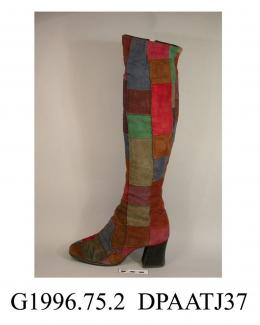Boots, pair, women's, multi coloured suede patchwork, over the knee length, fitted leg, zipped inner leg, broad square toe, high knock-on block heel covered black suede, black plastic sole, stamped Made in England, lined black nylon jersey fabric, appro
