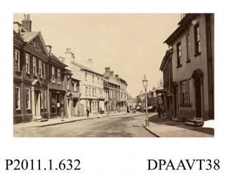 Photograph, sepia, showing High Street, Alton, Hampshire, 1860