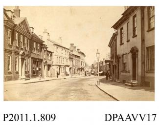 Photograph, sepia, showing a view of the High Street, Alton, Hampshire, 1879