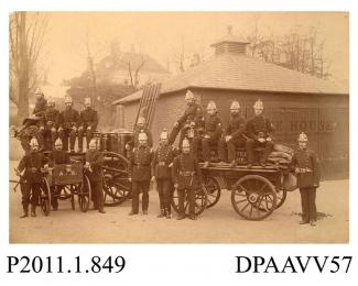 Photograph, sepia, showing Alton Volunteer Fire Brigade, Alton, Hampshire, 1882