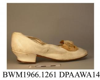 Shoes, pair, child's, white kid, squared toe with rounded corners, lined white kid, drawstring around upper edge which could be tightened to fit, insole labelled Rabbits and Sons, Boot and Shoe Makers, London, curved and waisted knock-on heel, vamp trim