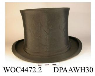 Opera hat, gibus, men's, black corded silk, crown having internal spring machanism so that it can be folded flat and stored under a theatre seat, medium brim with tightly curled sides, narrow silk hatband, lined black silk, made by G A Dunn and Company,