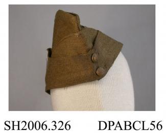 Side cap, field service cap, khaki twilled wool serge, British military issue, dated on lining 1939, 7 3/8, hand marked Lieut Lane, cap badge of Somerset Light Infantry, approximate depth 315mm, approximate height 118mm,  c1939
