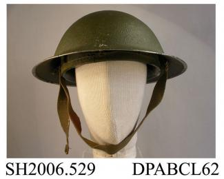 Helmet, British Army Mk 2 steel helmet, textured green paint, plastic liner size 7 1/2, webbing chinstrap attached to one side, inside on rim 'IMV 245', c1939-1945