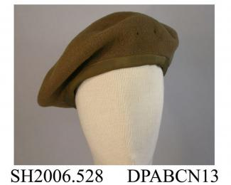 Beret, khaki wool felt, British Army issue, badge now missing, approximate diameter 260mm, c1944