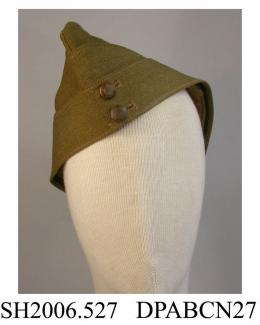 Side cap, British Army side cap, RE size 7, no badge, 2 buttons, khaki twilled wool serge, c1939-1945