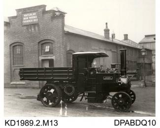 Photograph, black and white, showing a steam wagon for W E Willis, Ystrad Rhondda, Mid Glamorgan, built by Tasker and Co, Waterloo Foundry, Anna Valley, Abbotts Ann, Hampshire