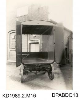 Photograph, black and white, showing a trailer, built by Tasker and Co, Waterloo Foundry, Anna Valley, Abbotts Ann, Hampshire
