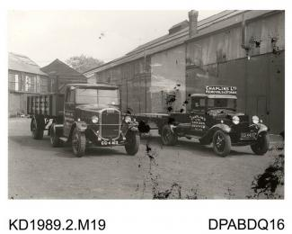 Photograph, black and white, showing two lorries, for Chaplins Limited, storage and removals, built by Tasker and Co, Waterloo Foundry, Anna valley, Abbotts Ann, Hampshire