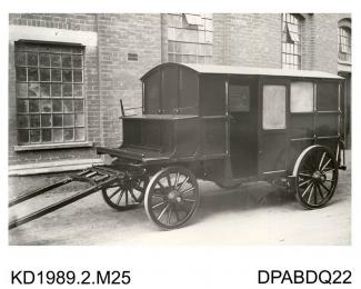 Photograph, black and white, showing a carriage, built by Tasker and Co, Waterloo Foundry, Anna Valley, Abbotts Ann, Hampshire