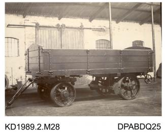 Photograph, black and white, showing a 4 wheel trailer for Fowler, built by Tasker and Co, Waterloo Foundry, Anna Valley, Abbotts Ann, Hampshire