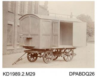 Photograph, black and white, showing a tea van, nuilt by Tasker and Co, Waterloo Foundry, Anna Valley, Abbotts Ann, Hampshire