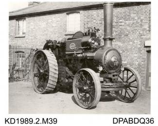 Photograph, black and white, showing a traction engine named Little Giant, built by Tasker and Co, Waterloo Foundry, Anna Valley, Abbotts Ann, Hampshire, 1900