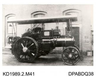 Photograph, black and white, showing a class B2 traction engine for H and E Walters, Forest Row, East Sussex, built by Tasker and Co, Waterloo Foundry, Anna valley, Abbotts Ann, Hampshire