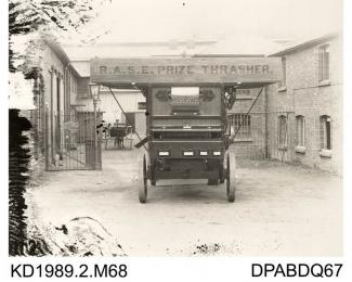 Photograph, black and white, showinga thrashing machine, TP149, built by Tasker and Co, Waterloo Foundry, Anna Valley, Abbotts Ann, Hampshire