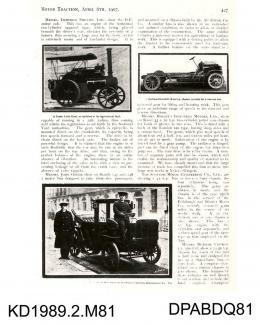 Photograph, black and white, showing Motor Traction Book p427, 6 April 1907