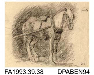 Drawing, pencil drawing in black, horse standing harnessed to a cart, drawn by William Grant, Havant, Hampshire