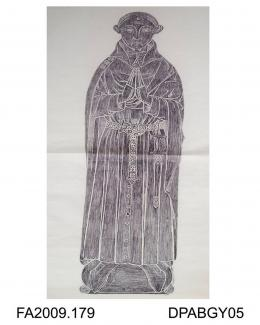 Brass rubbing, in black heel-ball, on white paper, unknown wool merchant, c1400, St Peter & St Paul Church, Northleach, Gloucestershire, by Herbert Druitt, 1876-1943Subject is in civilian dress with anelace and girdle displaying the letter T, standing