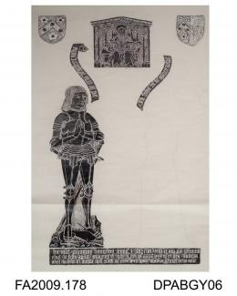 Brass rubbing, in black heel-ball, on white paper, Thomas Hampton (1483) in armour and wife, Isabel(1475) whose upper part of effigy is missing, 8 children, Trinity and 4 family shields, St Michael's Church, Stoke Charity, Hampshire, by Herbert Druitt,