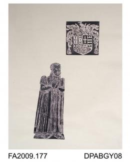 Brass rubbing, in black heel-ball, image cut out and mounted on to white paper, John Lighe (or Leigh), with shield, St Mary's Church, Froyle, Hampshire, 1575, by Herbert Druitt, 1876-1943The effigy is to be found on the south side of the sanctuary floo