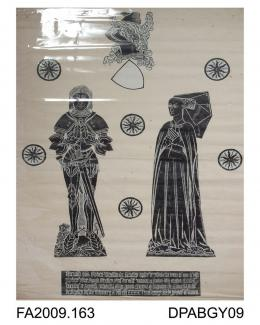 Brass rubbing, in black heel-ball on white paper, Sir Robert Strelley in armour and wife Isabella, 1458 and 1487, St Martin's Church, Strelley, Cambridgeshire, by Herbert Druitt, 1876-1943'... coudieres or elbow guards were of exaggerated pattern, more