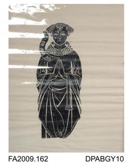 Brass rubbing, in black heel-ball on white paper, priest in mass vestments, possibly Robert or Roger Grymm, c1390, St Vigor Church, Fulbourne, Cambridgeshire, by Herbert Druitt, 1876-1943The effigy of the priest with scroll in hand has been mutilated a