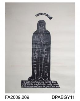 Brass rubbing, in black heel-ball, cut-outs laid down on to white paper, Dame Mary Gore, Prioress of Amesbury, 1436, in kirtle,-out veil head-dress, barbe and mantle, in nave of St Andrew's Church at Nether Wallop, Hampshire, by Herbert Druitt, 1876-194