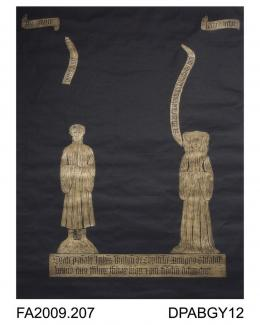 Brass rubbing, in gold heel-ball on black paper, John Weston and wife, Elizabeth in civilian dress, with 4 scrolls and two lines of Latin inscription, c1430, St Mary's Church, Bramshott, Hampshire, by Herbert Druitt, 1876-1943