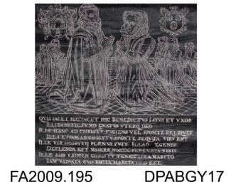 Brass rubbing, in black heel-ball, cut out and laid on to white paper, Benedict Jay, in civilian dress with wife, Elizabeth, 3 sons, 3 daughters, all kneeling, 2 shields, eight lines of Latin inscription, 1594, church at Farnham, Surrey, by Herbert Drui