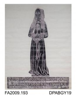 Brass rubbing, in black heel-ball, on white paper, Gwen Shelford, the parish church of Bramley, Hampshire, with inscription, 1504, by Herbert Druitt, 1876-1943