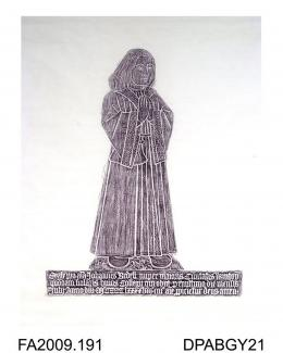 Brass rubbing, in black heel-ball, on white paper, John Bedell, mayor of Winchester (1496) and scholar of the college, 1498, with inscription, the cloisters of Winchester College, Winchester, Hampshire, by Herbert Druitt, 1876-1943