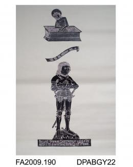Brass rubbing, in black heel-ball, on white paper, Thomas Wayte in armour with figure of Our Lord of Pity, inscription and shield, 1482, St Michael's Church, Stoke Charity, Hampshire, by Herbert Druitt, 1876-1943