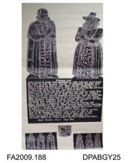 Brass rubbing, in black heel-ball, cut out and laid on to white paper, Richard Brooke and wife, Elizabeth, also 3 sons, 3 daughters, 3 shields and inscription, 1603, All Hallows Church, Whitchurch, Hampshire, by Herbert Druitt, 1876-1943