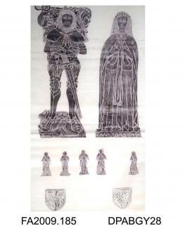 Brass rubbing, in black heel-ball, on white paper, Nicholas Kniveton in armour with SS collar and wife, Joan Mauleverer, c1475, with detached effigies of five sons (1 lost) and one daughter, 4 shields, at All Saints' Church, Mugginton, Derbyshire, by He