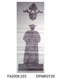 Brass rubbing, in black heel-ball, on white paper, George Ridding, Bishop of Southwell, 1904, in ecclesiastical attire, with bishop's mitre, shield, 6 lines of Latin inscription, at the chapel of Winchester College, Winchester, Hampshire, by Herbert Dru