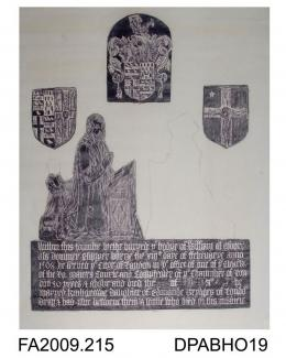 Brass rubbing, in black heel-ball on white paper, William Moore, born 13 February 1508, clerk of the Lord Mayor's court, comptroller of the London Chamber of Commerce, c1580, with son (head lost), effigy of wife lost, 3 shields, 7 lines of Latin inscrip