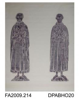Brass rubbing, in black heel-ball on white paper, two unknown civilians, one bearded, one clean-shaven, inscription lost, c1380, St Peter & St Paul's Church, King's Sombourne, Hampshire, by Herbert Druitt, 1876-1943'Worn round the neck, perhaps attache