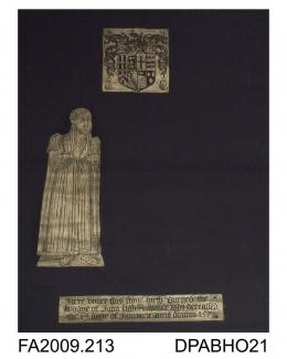 Brass rubbing, in gold heel-ball, on black paper, John Lighe, in civilian dress, 1575, with shield and 3 lines of Latin inscription, in church at Froyle, Hampshire, by Herbert Druitt, 1876-1943