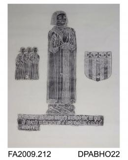 Brass rubbing, in black heel-ball, on white paper, Richard Mewys, in civilian dress, 1535, with 4 sons, 1 shield, 3 lines of Latin inscription, at church at Kingston, Isle of Wight, by Herbert Druitt, 1876-1943