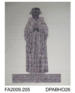 Brass rubbing, in black heel-ball, on white paper, Richard Harward, warden, in cap and almuce, 3 lines of Latin inscription, 1493, St Cross, Winchester, Hampshire, by Herbert Druitt, 16 August 1899'This brass is on the north side of the sacrarium, imme