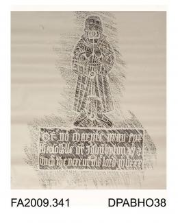 Brass rubbing, in black heel-ball, on white paper, John Upton, 1530, in civilian dress, with 3 lines of inscription, St Nicholas Church, Ringwould, Kent, by Herbert Druitt 24 June 1899