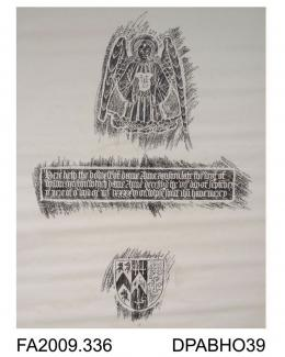 Brass rubbing, in black heel-ball, on white paper, an angel issues forth from a cloud holding a heart in her hand, with an inscription to the memory of Dame Anne Muston, 1496, and one shield, Church of SS Peter & Paul, Saltwood, Kent, by Herbert Druitt