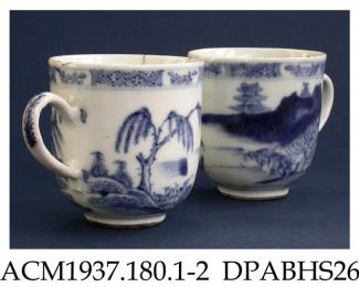 Coffee cup, two examples, hard paste porcelain, U-shape with loop handle, underglaze blue painted mountainous landscape with sea inlet; not marked, Jingdezhen, Jiangxi Province, China, c1775-1800