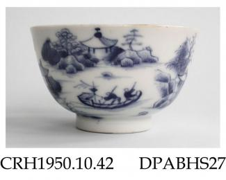 Tea bowl, hard paste porcelain, decorated with a blue painted scene of temples, summer-houses and figures in a watery landscape with two sampans, fringed scale diaper border on inner rim; not marked, Jingdezhen, Jiangxi Province, China, c.1770-1790