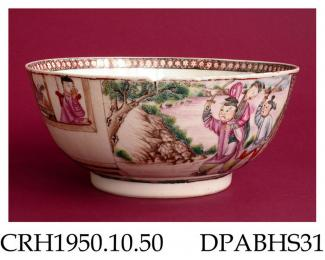 Bowl, hard paste porcelain, decorated in Mandarin style with two scenes of Chinese figures, one a family on a terrace overlooking water, the other including two swordsmen, the scenes separated by shaped Y-diaper panels and miniature landscapes in monoch