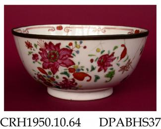 Bowl, hard paste porcelain, decorated with flowers and leaves in famille rose colours with a narrow scroll border inside rim, rim repaired with a band of  copper or tin; not marked, made in Jingdezhen, Jiangxi Province, China, c.1790-1810