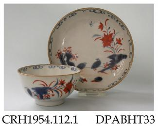 Tea bowl and saucer, hard paste porcelain, decorated in Chinese Imari colours with the ' two quails' design; not marked, made in Jingdezhen, Jiangxi Province, China, c1720-1730 the 'two quails' or quail and millet' pattern originated in Japan in the lat