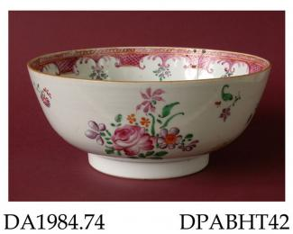 Bowl, hard paste porcelain, decorated with polychrome enamelled flowers and internal diaper border in European style; not marked, made in Jingdezhen, Jiangxi Province, probably with decoration applied in Guangzhou, Guangdong Province, China, c1780-1800