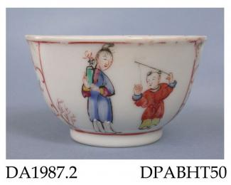 Tea bowl, hard paste porcelain, decorated with two panels containing Chinese figures; not marked, made in Jingdezhen, Jiangxi Province, China c1765-70
