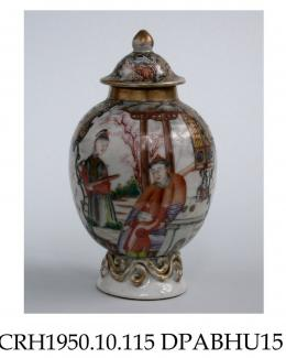 Tea canister, or vase, hard paste porcelain, ovoid with a domed lid and applied scrolls to the foot, decorated in enamels and gilt with Chinese figures, birds in cartouches and miniature landscapes en camaieu; not marked, made in Jingdezhen, Jiangxi Pro